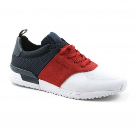 BJÖRN BORG MENS R100 LOW TRI White-Navy-Red, vapaa-ajan tennarit