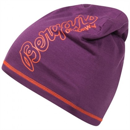 BERGANS OF NORWAY BLOOM WOOL BEANIE PLUM/KOI ORANGE OS, pipo