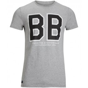 Björn Borg Liam Graphic Tee Light Grey Melange, vaaleanharmaa