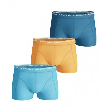 Björn Borg Basic Seasonal Solids 3 Pack Short Shorts Blue Grotto