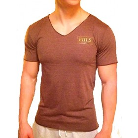 FIILS MENS V-NECK T-SHIRT Brown