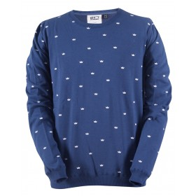 2117 OF SWEDEN UVERED M PRINTED SWEATER smoke navy, miesten paita