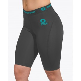 ZERO POINT POWER COMPRESSION SHORTS WOMEN DARK GREY-TURQUOISE