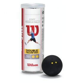 STAFF SQUASH 3 BALL TUBE DB YEL DOT
