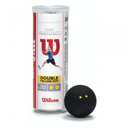 WILSON STAFF SQUASH 3 BALL TUBE DB YEL DOT